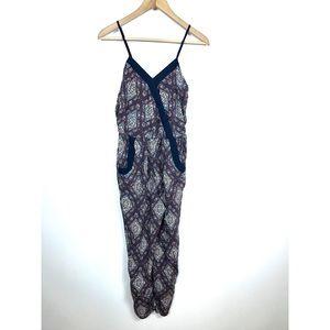 Xhilaration Small Pant Jumpsuit V-Neck Blue Floral